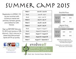 2015 Summer Camp Evolve All Flyer
