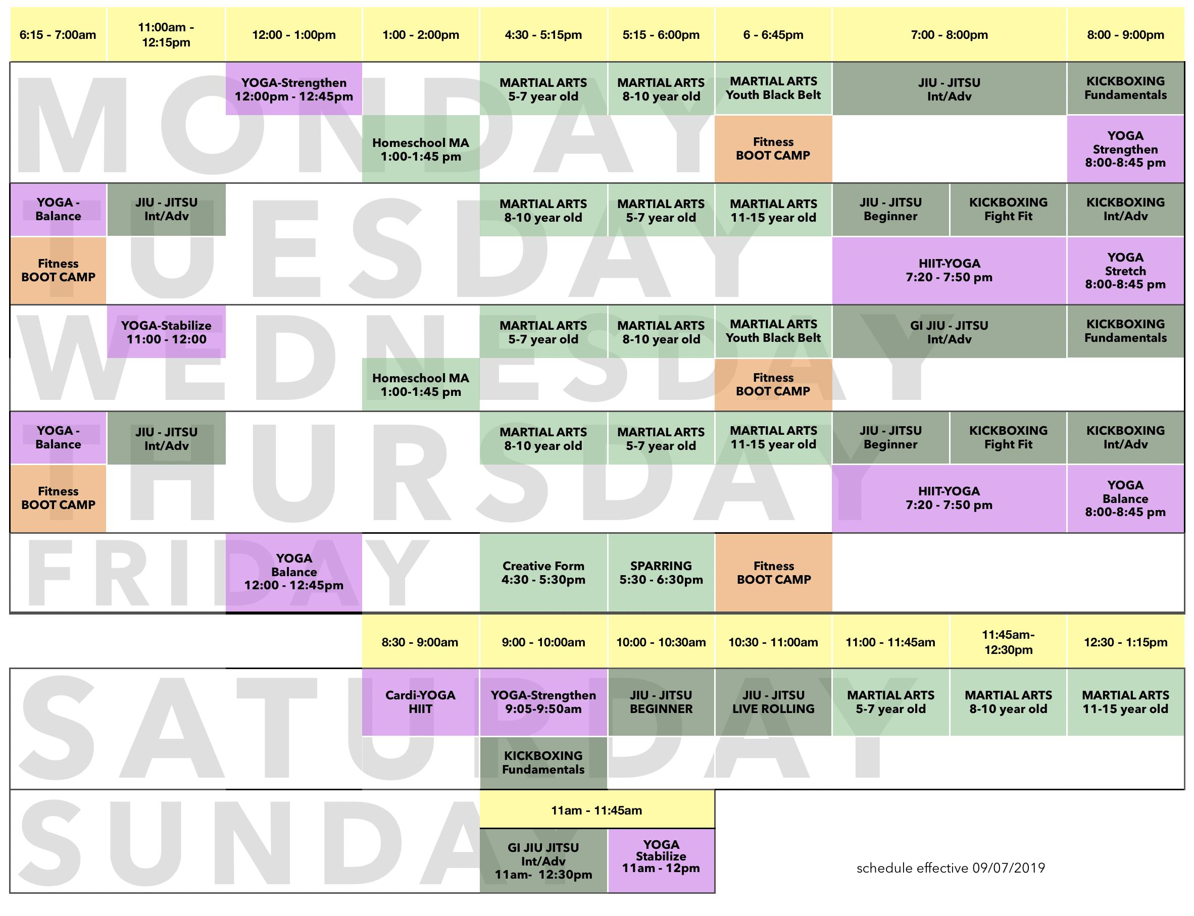 EA3 SCHEDULE - Lesson Schedule